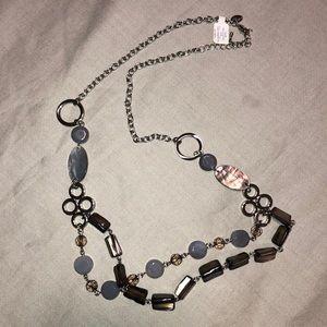 Lia Sophia double stranded silver beaded necklace